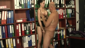 Shione Cooper in her lingerie hard bends over in office