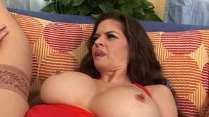 June Summers along with June Summer cumshot on the couch