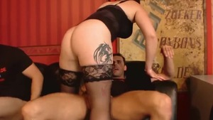 Blowjob cum dirty german in stockings