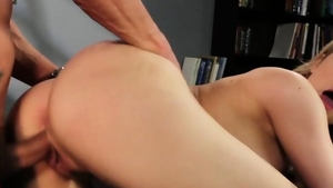 Very hot blonde rough cumshot