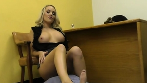 Footjob in office