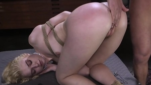 Banging bondage in company with blonde hair