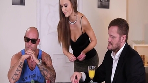 Big ass slut Tina Kay raw poker blowjob