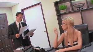 Big tits blonde babe throat fuck in office