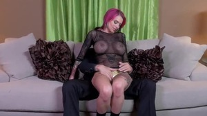 Hardcore sex in company with large tits redhead