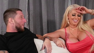 Fake tits & busty cougar throat fucking on the couch