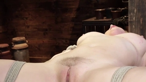Busty blonde haired Penny Pax rides huge vibrator