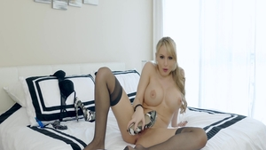 Nude Addison Avery closeup playing with sex toys in the bed