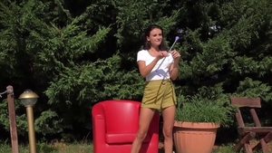 Shaved Kate Rich pussy eating masturbation outdoors