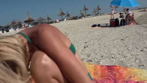 At the beach together with wet pussy british housewife