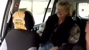 Doggy sex in the taxi european HD