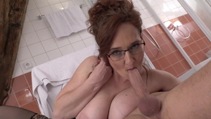 Huge tits & young Helena Price sucking cock