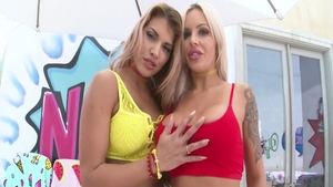 Cumshot with Nina Elle in tandem with Mercedes Carrera