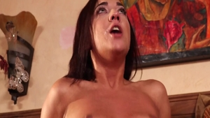 Brunette Amara Romani raw sucking cock in the shower
