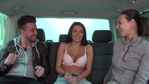 Amateur Mea Melone group sex in the car