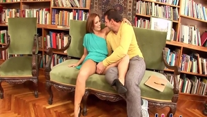 Hot pornstar Sylvia Laurent hardcore pussy eating in library
