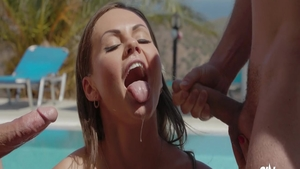 Filthy gorgeous european babe Tina Kay hard sucking dick