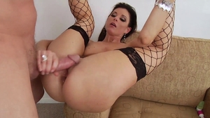 Ass fucking along with stepmom wearing fishnets HD