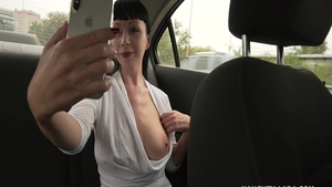 Masturbation in the taxi among busty amateur Naughty Lada