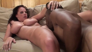 Busty stepmom in sexy lingerie sucking BBC