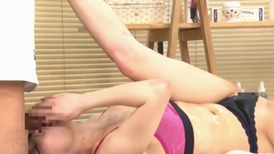 Very nice asian female reverse cowgirl at the gym