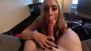 Tattooed blonde haired Kali Rose POV blowjob creampied HD