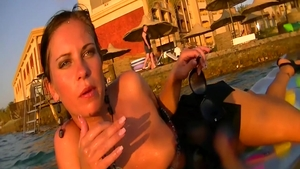 Sex in company with busty stepmom