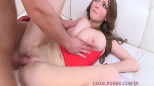 Rough gangbang accompanied by huge boobs babe Lucie Wilde