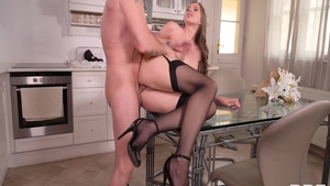 Stacy Cruz gets plowed in the kitchen