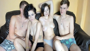 Sex scene escorted by big tits couple
