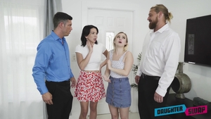Aria Banks wearing jeans & Riley Jean group sex