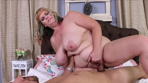 Hairy BBW POV deepthroat in the garden