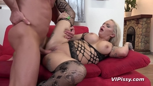 Big ass inked slut in stockings cumshot in HD