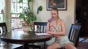 Solo skinny and very small tits Lily Rader playing with toys