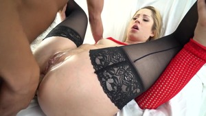 Nailing natural stepmom in sexy stockings