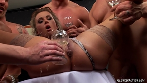Pissing along with blonde in tight stockings in HD