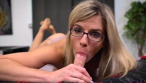 Large tits mature Cory Chase in stockings cumshot in HD