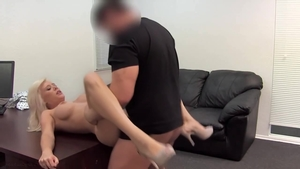 Huge tits blonde babe rammed hard on the couch