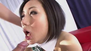 Hairy japanese brunette cosplay getting facial HD