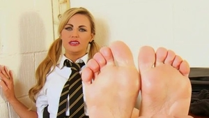 Kinky naughty girl barefoot foot licking in office