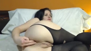 Solo big tits babe toys in sexy stockings