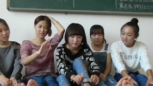 Tickle among asian college girl wearing socks in HD