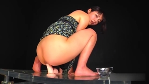 Japanese riding huge dildo