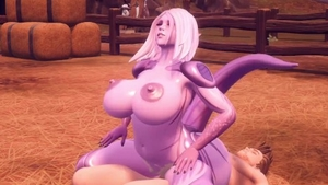 Big tits alien fucked in the butt 3d