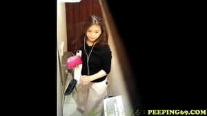 Nice asian girl craving upskirt nailed rough in the toilet HD