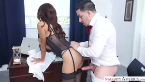 Huge tits MILF interracial banging threesome in office in HD