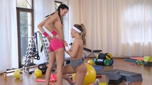 Lesbians rub their clits together & aerobics in the gym HD