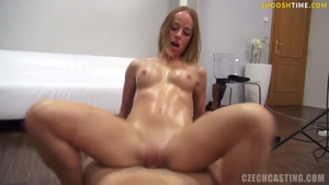 Czech MILF oiled dick sucking at casting