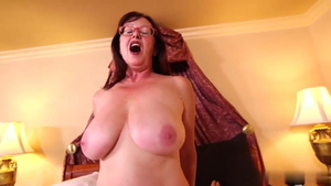 Saggy tits granny POV receiving facial cum loads