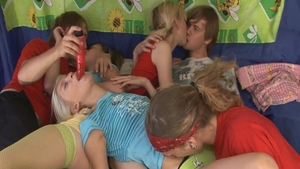 Skinny brunette group sex at the party